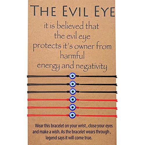 MANVEN Evil Eye Bracelet Nazar Kabbalah Red Protection Bff Friendship Ojo Turco Good Luck String Bracelets for Women Men