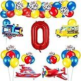 Decoración de globos de cumpleaños de tráfico para niños, globo de número rojo gigante [0], tema de tráfico, decoración de globos de feliz cumpleaños, avión, tren, autobús, yate