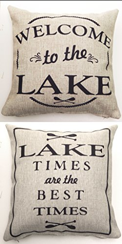 Evelyn Hope Collection 1 Pillow-Lake Mesage Quote Indoor-Outdoor Tan Throw Pillow-Lake Decor-Lake Gifts-Rustic Pillows