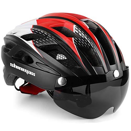 Bike Helmet,Shinmax Bicycle Helmet with Detachable Magnetic Goggles&Led Back Light&Portable Backpack Safety Certificated Cycling Helmet Adjustable Road Mountain Bike Helmet Men Women SM-T69