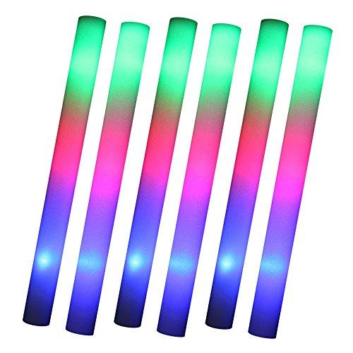 Schramm® 6 Stück LED Partystick 47cm Styropor 3 Funktionen Party Stab Schaumstoff Party Stick Knicklichter