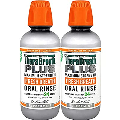 TheraBreath Plus Maximum-Strength Oral Rinse, 16 Ounce Bottle (Pack of 2)