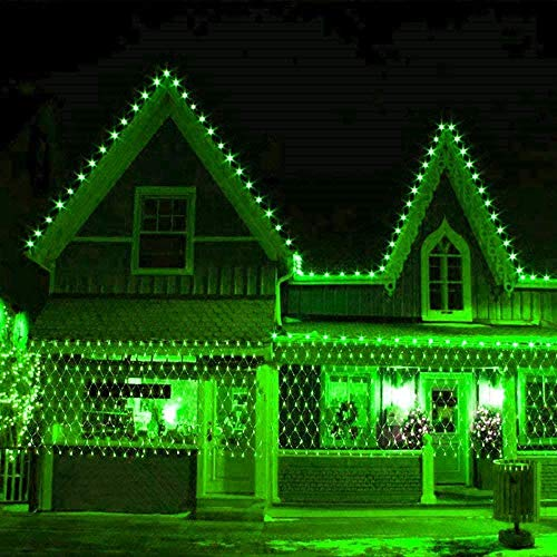 MIAOGO LED Curtain Lights, Green Fairy Lights 8 Modes Christmas String Lights Plug Indoor Outdoor Halloween Festival Decorations Party Gazebo (Size : 1.5 * 1.5m)
