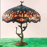 Estilo de Tiffany lámpara de mesa de escritorio lado de las naranja-rojo del vidrio manchado del grano de la libélula 2 Luz en la base de la antigüedad de la resina para la sala de estar Dormitorio