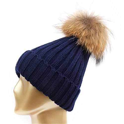HMILYDYK Mode Femme Hiver Chaud Bonnet tricoté à Pompon en Fausse Fourrure Pom Pom Bonnet Casquette pour Nouvel an Cadeau
