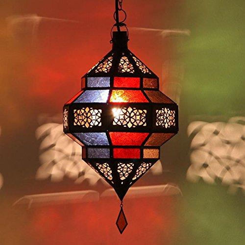 Orientalische Pendelleuchte marokkanische Lampe Maha Multifarbig aus Metall & Relief-Glas | Kunsthandwerk aus Marokko wie aus 1001 Nacht | L1801