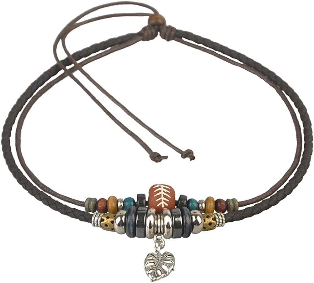 Ancient Tribe Adjustable Hemp Leather Beads Choker Necklace