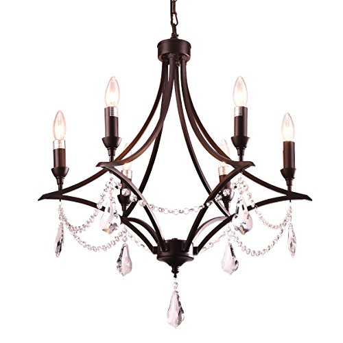 mirrea Vintage Crystal Chandeliers Pendant Lights No Shade Oil Rubbed Dark Bronze 6 Lights of Candelabra Base