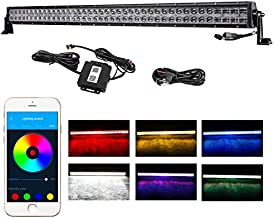 40 Inch LED Light Bar, Wayup 5D 240W CREE RGB Multi Color Work Light Chasing Color Changing Spot Flood Combo Light Bar with Wiring Harness Bluetooth Strobe Driving Light for Off Road Truck Jeep
