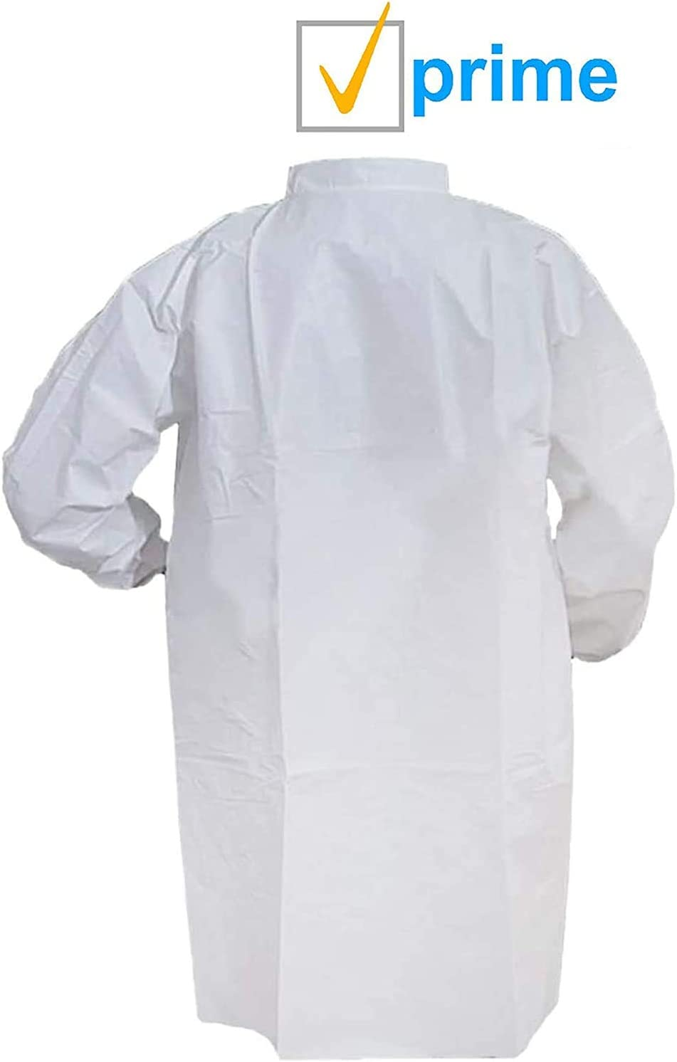 with Loop Fastener Adult Disposable SMS Coat No Pockets Non-Sterile Unisex Industrial Clothing. X-Large White Coat with Long Sleeves and Elastic Wrists AMZ Lab Coat 43 x 55
