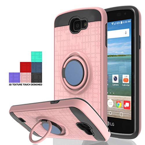 Wtiaw Compatible with LG Optimus Zone 3 Case,LG Spree Case,LG Rebel LTE Case,LG K4 Case,LG K4 Gray/Optimus Zone 3 VS425PP/K4 LTE Case 360 Degree Rotating Ring Kickstand Case for LG K4-CH Rose Gold