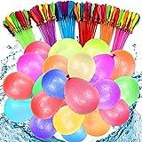 222 PCS Wasserbombens,Water balloons,6 Bündel mit je 37 Wasserbomben,selbst verschließend ohne Knoten(Zufällige Farbe)