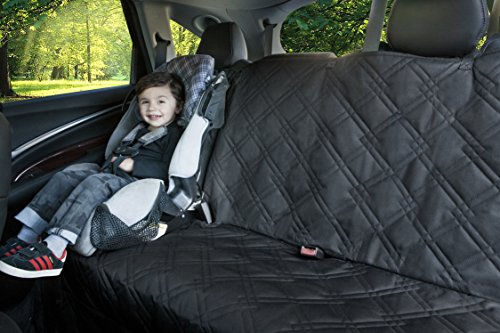 Backseat Protector for Any Car, Truck and SUV. Made of Waterproof, Scratch Resistant, Machine Washable, Non-Slip Material by Rumbi Baby.