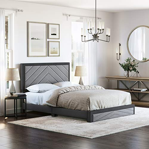 Boyd Sleep Barcelona Upholstered Platform Bed with Headboard and Durable Mattress Foundation with Strong 14 Wood Slat Supports, No BoxSpring Required: Queen, Black/Gray