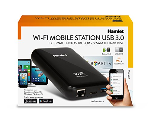 Hamlet HXD25WIFI - Box per Hard Disk Wi-Fi & USB 3.0 & LAN 10/100 + Battery Bank + Access Point Router. Accessibile Anche Tramite App Android e Apple