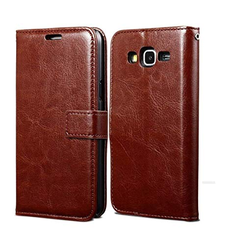 COVERBLACK Vintage Leather Flip Cover for Samsung Galaxy Grand Neo GT-I9060 - Executive Brown