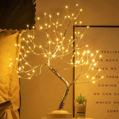 Tischplatte Bonsai Baum Licht 108LED Blumen Künstliches Baumlicht Baumlicht Kupferdraht Tischlampen Nachtlicht Lichterkette Spirit Tree Funkelndes Nachtlicht Mini Weihnachtsbaum DIY Bonsai Baum Lampe