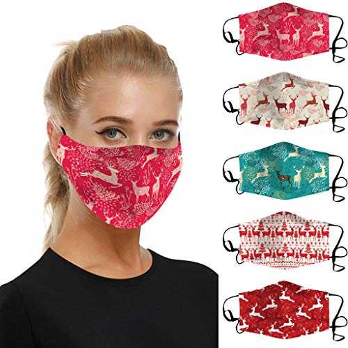 Learn More About Yck-SAiu 5Pcs Breathable Masks for Adult Christmas Reindeer Pattern Printed Breatha...