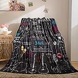 Music Blanket Throw Music Notes Flannel Blanket Black Doodle Icons Printed Design Guitar Piano Blanket Flannel Fleece Blanket Soft Cozy Bed Blanket for Kids Teens (Black, Throw(50'x60'))