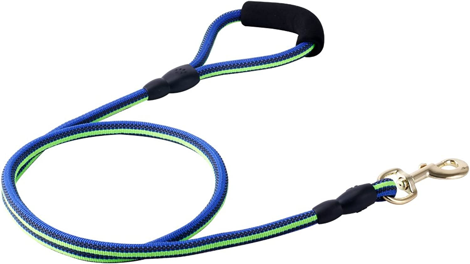 NonSlip Round Dog Leash Nylon & Rubber Weaving with Heavy Metal Hook and NonSlip Handle bluee(3 55 ft)