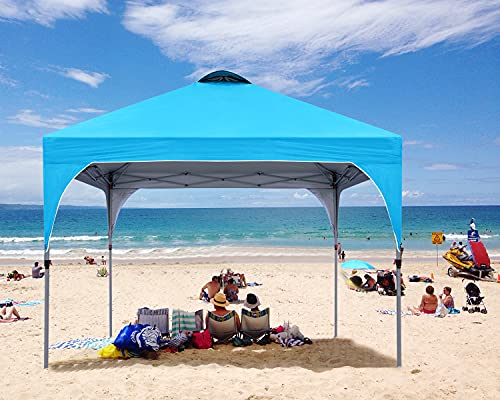 COOSHADE Pop Up Canopy Tent,Easy Setup Instant Sun Protection Beach Shelter,Portable Sports Cool Cabana(Sky Blue)