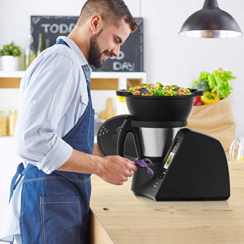 Taurus Mycook Touch Black Edition Robot de cuisine, Wifi, 1600 W, 2 L, jusqu'à 140 degrés, multifonction, plus de 8 000 recettes, vapeur 2 niveaux et panier