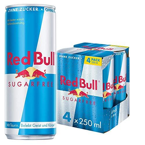 Red Bull Energy Drink Sugarfree Dosen Getränke Zuckerfrei 4er Pack, EINWEG (4 x 250 ml)