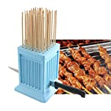 XIER Kebab Maker,49 Holes BBQ Meat Skewer Box, Tofu Skewer Tools Detachable with 50pcs Stainless Steel Sticks for Beef Skewer Kebab,Tofu Skewers (Blue)