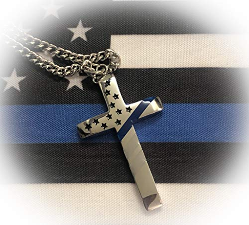 Integrity Thin Blue Line Flag Cross Necklace with 24' Steel Chain Thin Blue Line Jewelry, Gifts for Police Officers, Police Wives