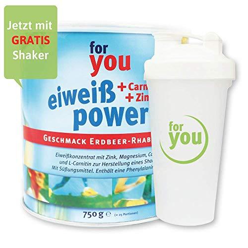 for you Power Eiweiß nach Strunz I Eiweißpulver Erdbeer-Rhabarber 750g + Shaker I mit Carnitin Whey-Protein Sojaprotein Milchprotein I Biologische Wertigkeit 156 I Mehrkomponenten Pulver