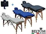 Beltom Table de Massage 4 Zones Portables Cosmetique lit esthetique Pliante Reiki + Sac - Noir