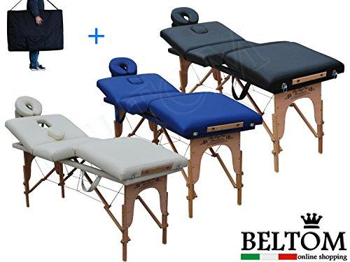 Beltom Lettino Massaggio 4 Zone Legno LETTINI per da Massaggi Pieghevoli Gran Nuovo Fisioterapia FISIOTERAPISTA Tattoo Tatuaggi Relax - Panna