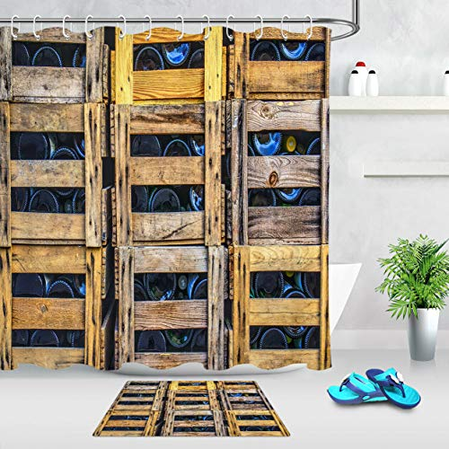 123456789 Botella en Caja de Madera Cortina de Ducha Ganchos Tela Impermeable Alfombra de baño