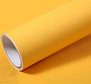 REDODECO Solid Color Matte Textured Vinyl Adhesive Paper Peel Stick Wallpaper Adhesive Cabinet Shelf Liners Decal,15.8inch by 79inch (Yellow)
