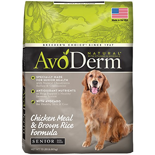 AvoDerm Natural Senior Dry Dog Food, Supports Joint Health, Chicken & Brown Rice Formula
