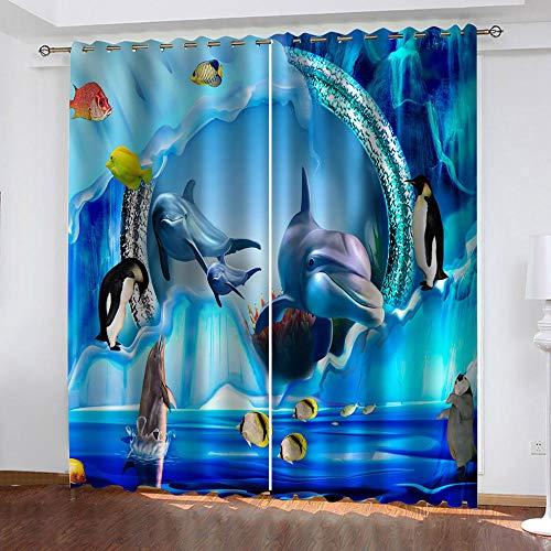 GSKBDQ Cortinas Termicas Aislantes Frio Y Calor con Ojales 2 Piezas Cortinas Opacas para Ventanas Salon Dormitorio Infantil 3D Delfines del Mundo Submarino Patrón Decoración Hogar 132X214Cm(An X Al)