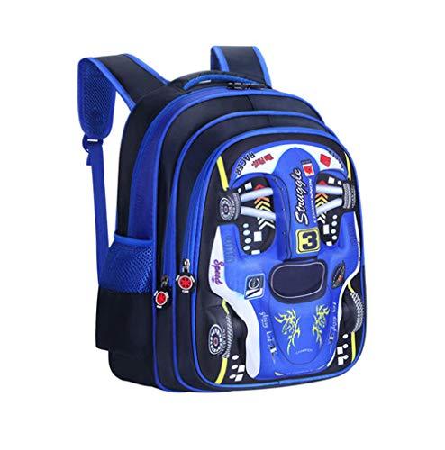 PGYFIS Waterproof Children Backpack Kid Backpack 3D Cute Car Cartoon School Backpack blue