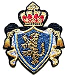 PP Patch Blue Gold Crown Lion Coat of Arms Crest Cartoon Patch Embroidered Iron On Patch Kids Sticker Patch for Clothes Backpacks T-Shirt Jeans Skirt Vests Scarf Hat Bag