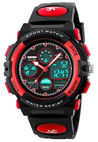 SKMEI Kinders Junges Mächens Analog Digital LED Rücklicht Uhren Woche Alarm Chronograph Armbanduhr-Rot