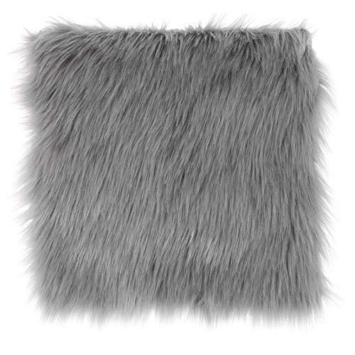 jidan Super Soft Rug Anti-Slip Durable Carpet Faux Sheepskin Chair Cover 3 Colors Warm Hairy Wool Carpet Seat Pad long Skin Fur Plain Fluffy Area Rugs Washable (Color : LGY, Size : 40cm x 40cm)