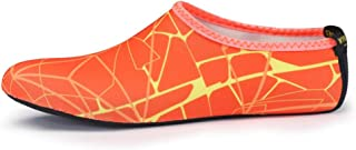 KUVV New Orange Yellow Printing Men And Women Diving Socks Quick-drying Snorkeling Socks Adult Beach Non-slip Breathable Upstream Shoes (Color : Orange, Size : US7.5)