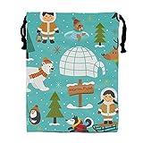 Mochila de Cuerda,Bolsa de Cuerdas Party Favors Bags Cute Eskimos Designs, Cartoon Gift Candy Drawstring Bags Pouch, Treat Goodie Bags Kids Girls Boys Birthday