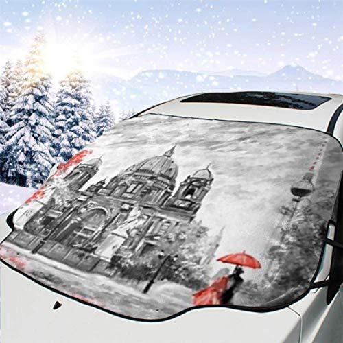 JONINOT Visera de sombrilla automática para Parabrisas Delantero Impermeable Pintura al óleo sobre Lienzo Street View Protector protección contra heladas Invierno vehículos