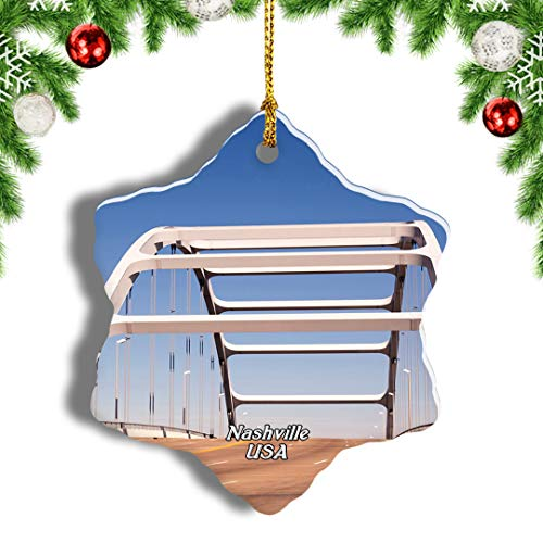 Weekino America USA Suspension Bridge Nashville Christmas Ornament Travel Souvenir Tree Hanging Pendant Decoration Porcelain 1012' Double Sided