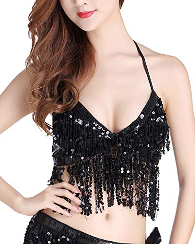 Anlydia Womens Glitter Sequin Tassel Halter Crop Top Sexy Latin Belly Dance Sequin Bra Party Club Wear Costume