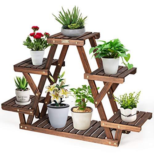 COSTWAY Wooden Flower Rack, 4-Tiers Plants Storage Display Shelf for 6 Pots, Outdoor Indoor Garden Patio Balcony Plant Stand Holder