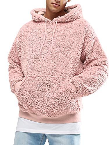 Gemijacka Pullover Herren Hoodie Herren Kapuzenpullover Plüsch Hoodie Sweatshirt Teddy-Fleece Pullover mit Taschen, Rosa, XXL