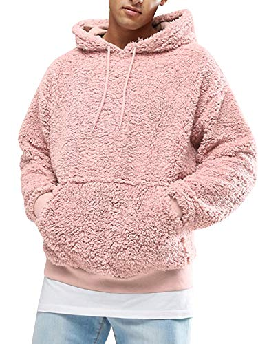 Gemijacka Pullover Herren Hoodie Herren Kapuzenpullover Plüsch Hoodie Sweatshirt Teddy-Fleece Pullover mit Taschen, Rosa, M
