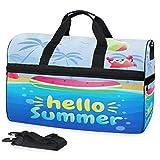 Buyxbn Hello Summer Beach Sports Gym - Bolsa de deporte con compartimento para zapatos, extragrande, para viajes de fin de semana, entrenamiento profesional, para hombres y mujeres, unisex 35-40 L