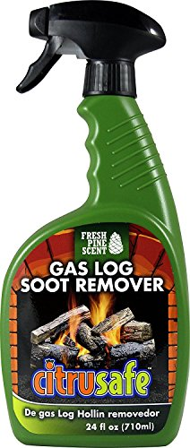CitruSafe Gas Log Soot Remover - Remove Built-Up Soot and Ashes on Vented Gas Wood - Fresh Pine Scent (24 oz)